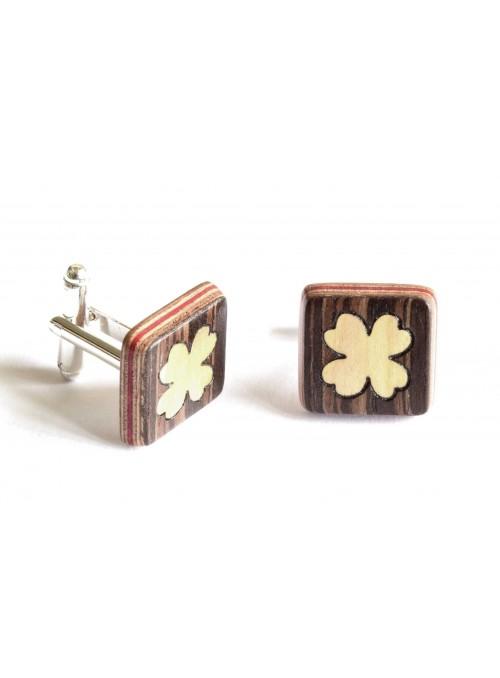 Gemelli intarsiati con quadrifoglio in legno e metallo