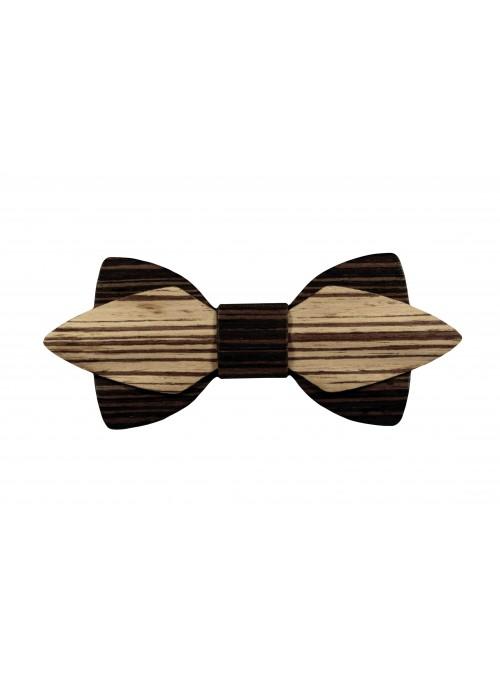 Papillon doppio nei legni wengé e zebrano rigato
