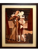 Intarsio omaggio a De Chirico realizzato in diversi legni - Ettore e Andromaca