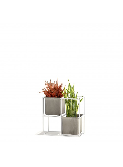 Modular shelf unit in aluminum and cotton