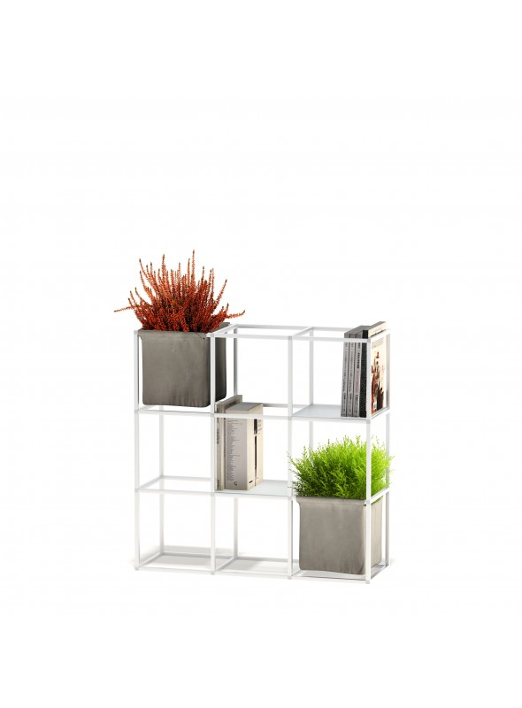 Modular shelf unit in aluminum and cotton