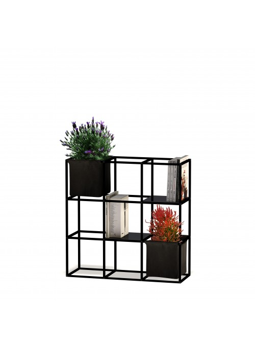 Modular shelf unit in 9 aluminum and cotton cubes