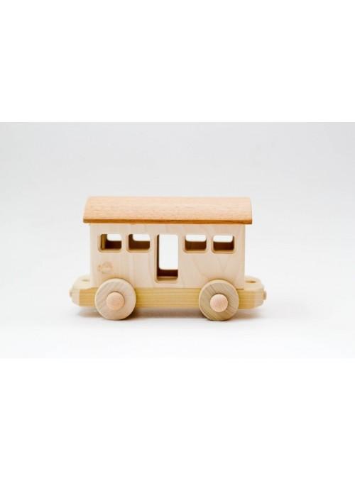 Vagone passeggeri giocattolo in legno