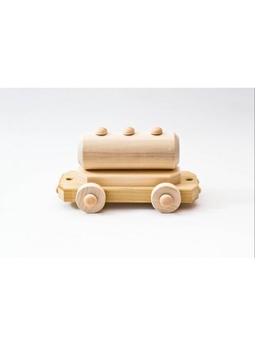 Vagone giocattolo in legno con cisterna
