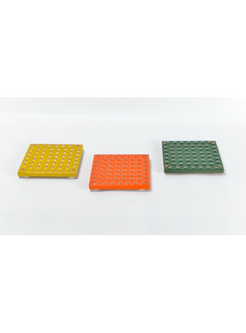 Kit di 3 sottopentola a quadretti in ceramica