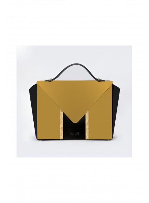Small bag in nabuck and cork - Bighty Mustard & Black