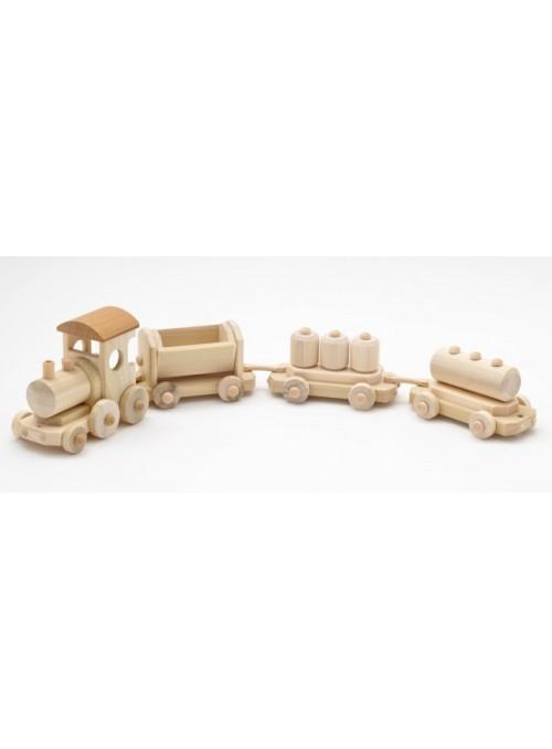 Treno merci giocattolo in legno