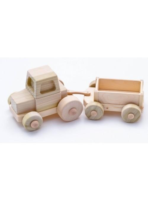 Trattore con carro, giocattolo in legno