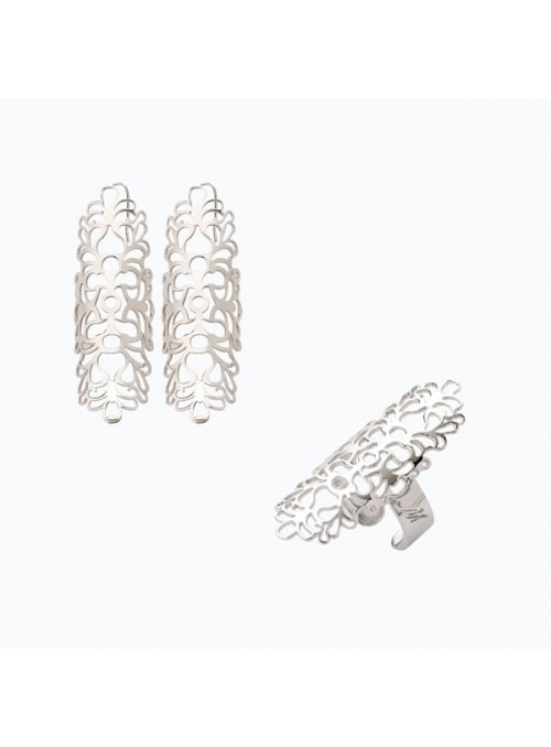 Handcrafted silver ring and earrings set - Arabian style