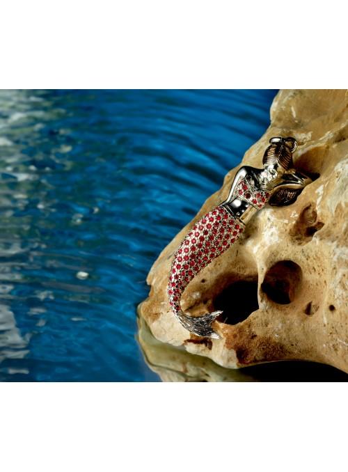 Ciondolo in bronzo placcato oro con swarovsky - Sirena