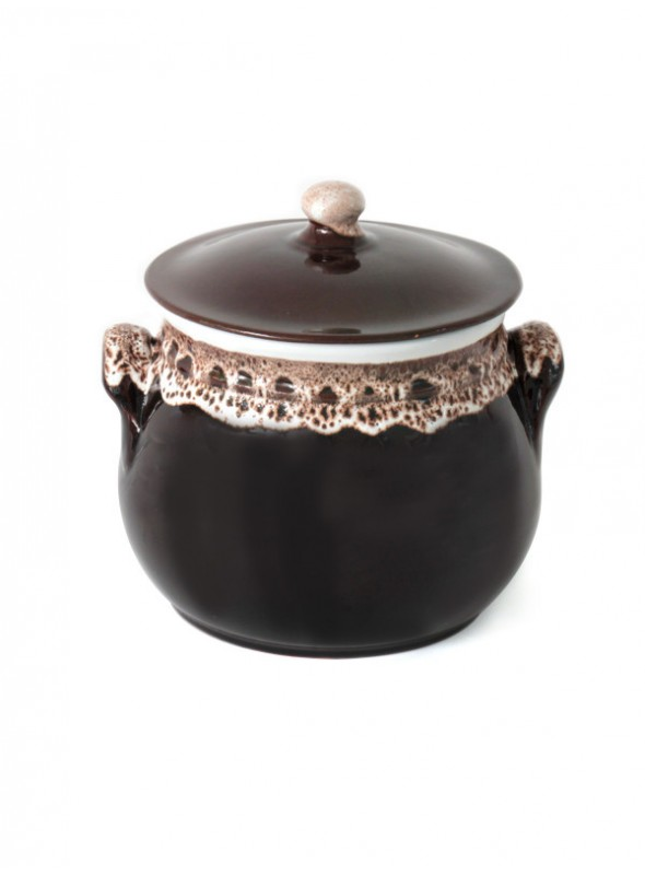 Brown fire clay pan with lace decoration