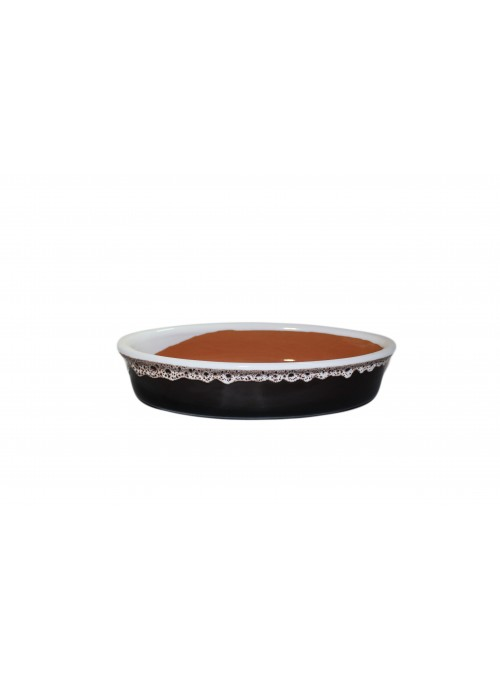 Brown fire elliptic bowl for many recipes, with lace decoration