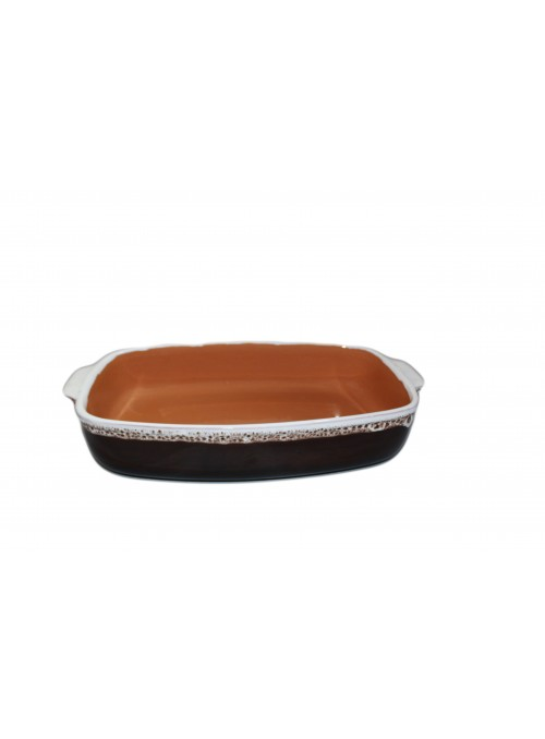 Brown fire retangular pan for many recipes, with lace decoration