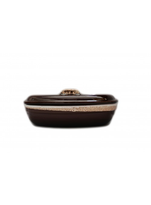 Brown fire clay pan for chicken with decoration