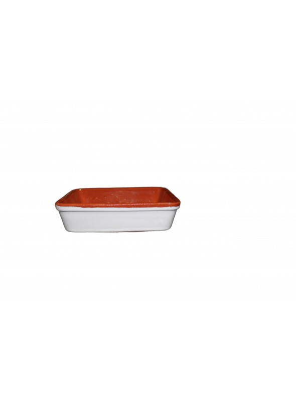 Squared white clay fire pan