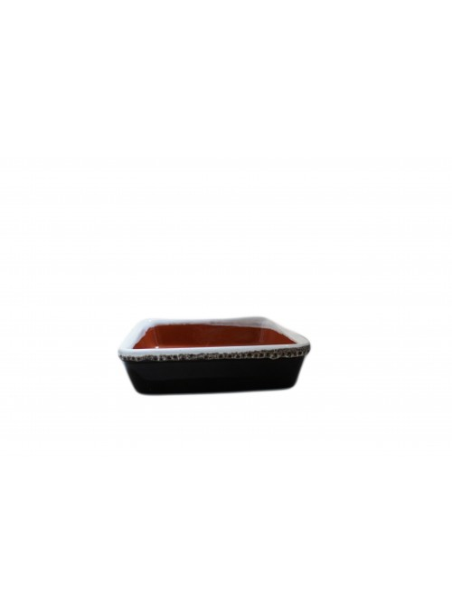 Brown fire squared pan for many recipes, with lace decoration