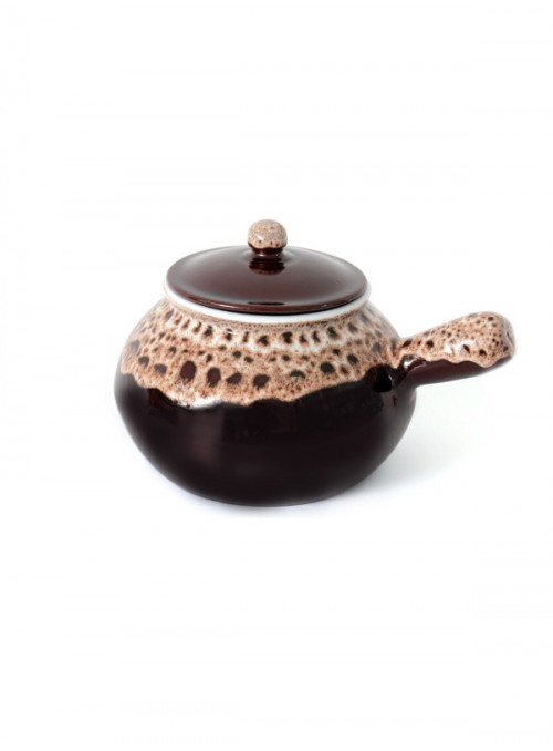 Brown fire clay pan for cooking potatoes with decoration