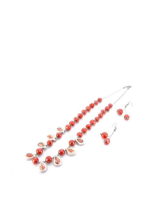 Collana in maiolica rosso ciliegia