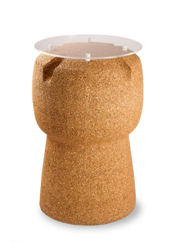 Wine cork table in blond cork