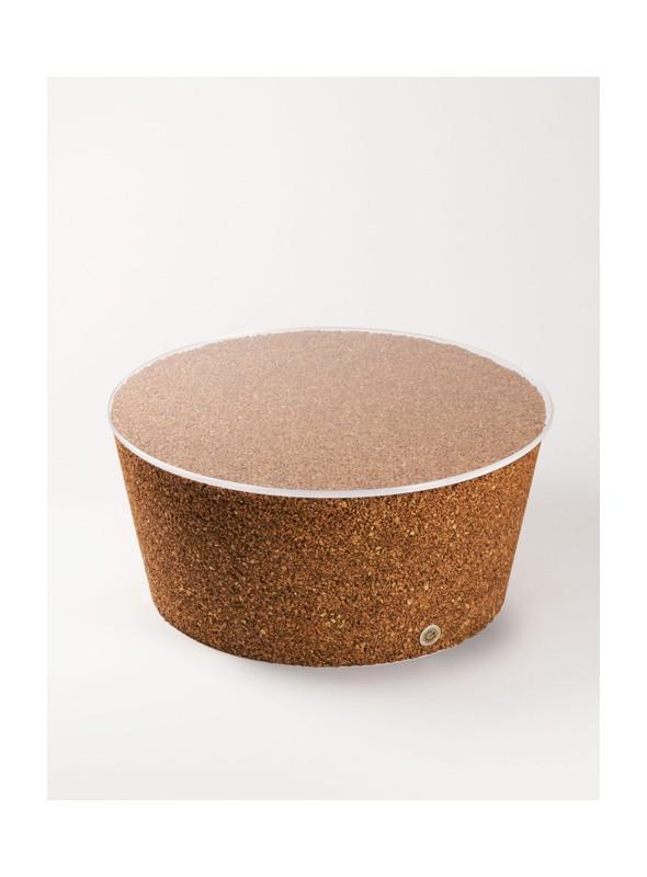 Tavolino con piano trasparente in sughero biondo - Japan