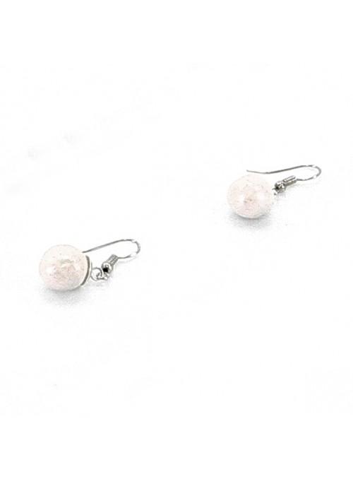 Orecchini a perlina singola in maiolica rosa cipria