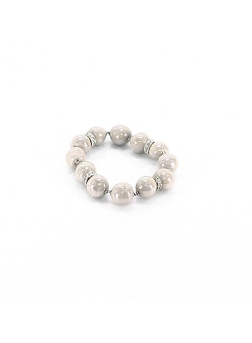 Bracciale di perline in maiolica bianco antico