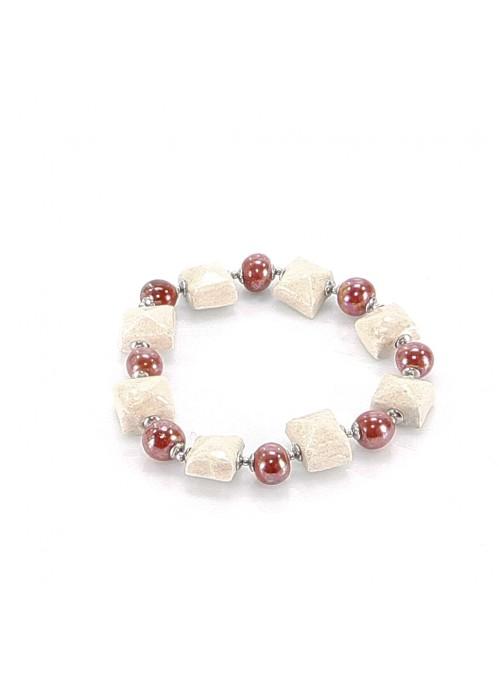 Bracciale di perline e quadretti rosso e avorio