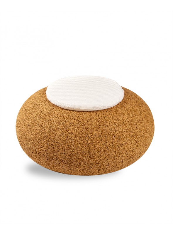 Pouf in blond cork with fabric cushion - Nepal