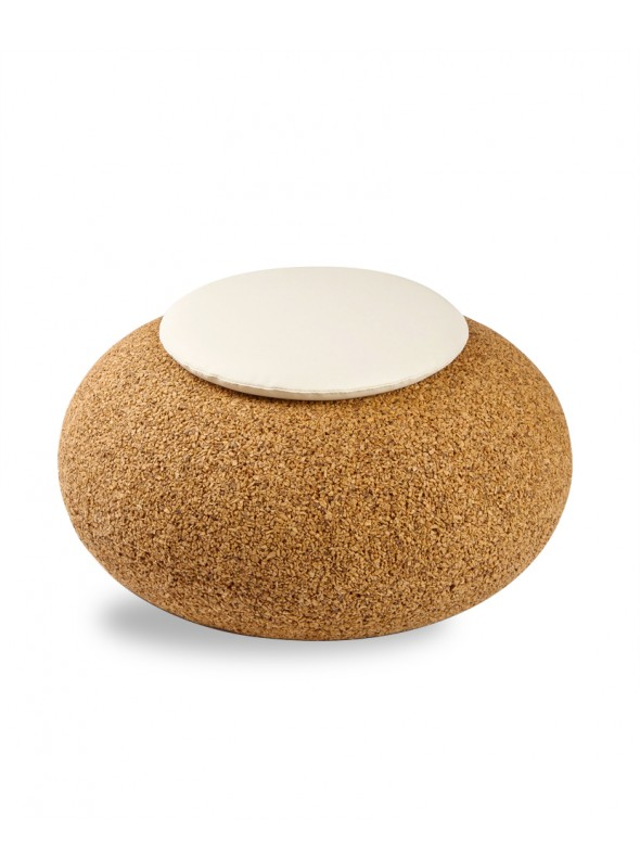 Pouf in blond cork with eco leather cushion - Nepal