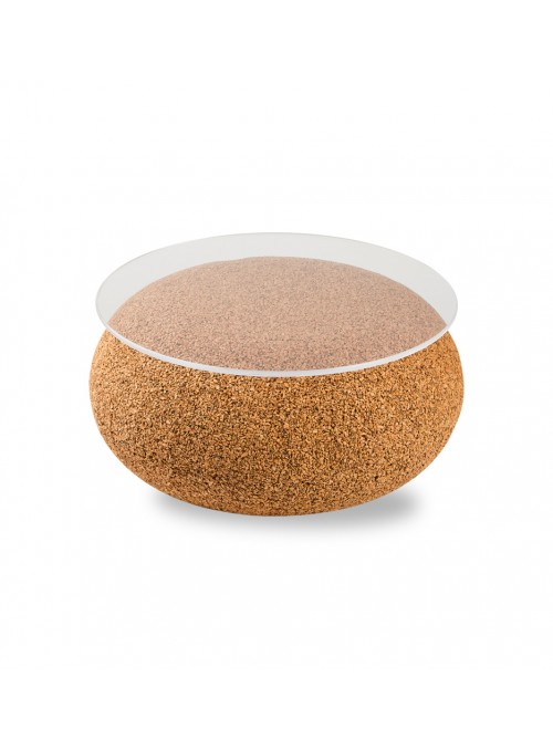 Small coffee table in blond cork with rounded surface - Nepal Tavolino