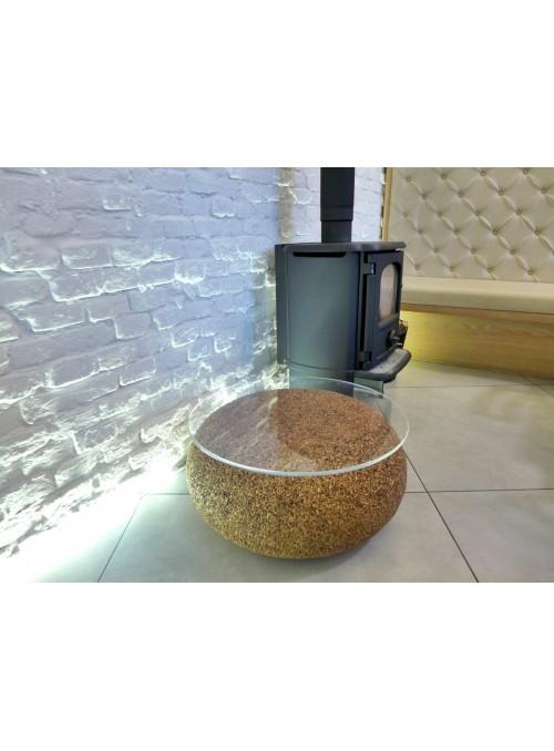 Tavolino basso in sughero biondo con superficie rotonda- Nepal Tavolino