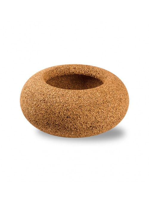 Rounded box in blond cork - Nepal Contenitore