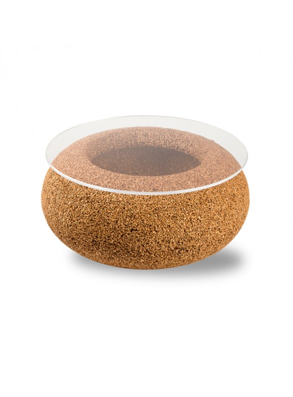 Rounded table box in blond cork - Nepal tavolino Contenitore