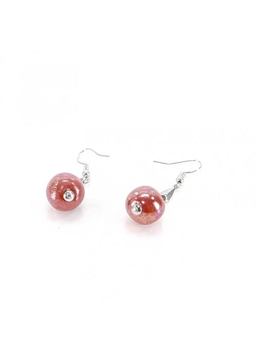 Orecchini di perline a pallina rosse