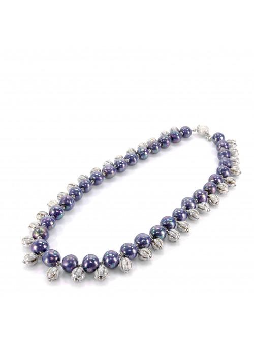 Collana di perline multi cromatica azzurra