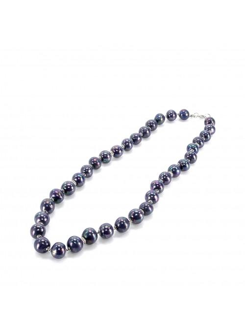 Collana di perline in maiolica in tre colori
