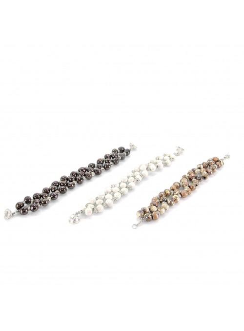 Bracciale a tre fili di perline in maiolica