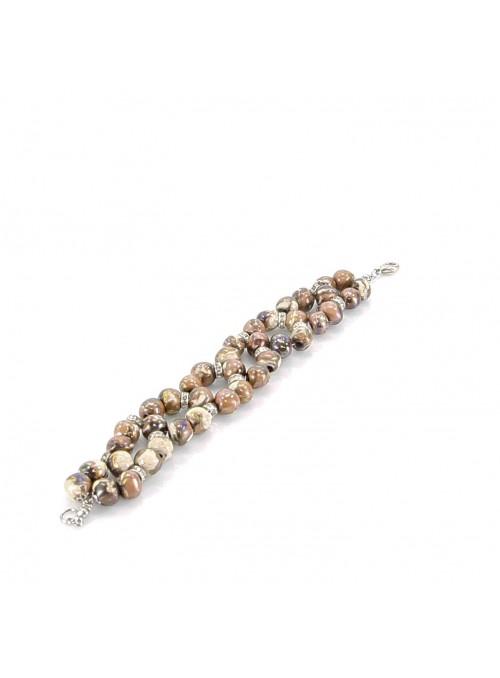 Bracciale di perline a tre fili in argilla