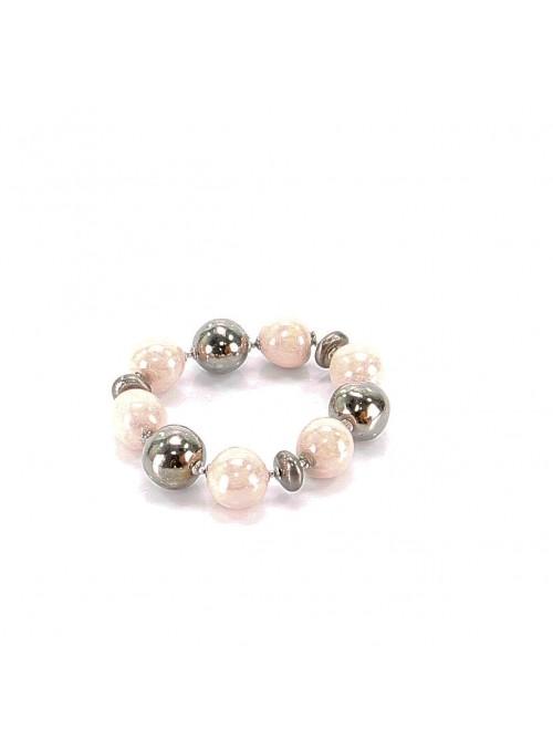 Bracciale in maiolica rosa e argento
