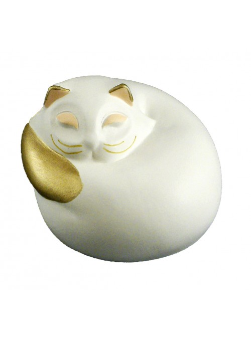 Hand-painted ceramic curled up cat