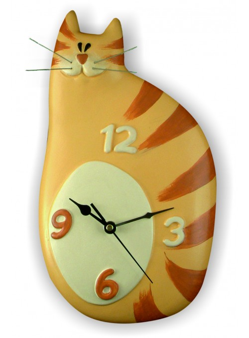 Hand-painted ceramic cat clock