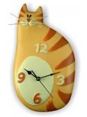 Orologio gatto in ceramica colorata a mano