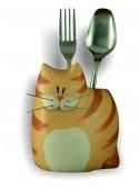 Hand-painted ceramic cat cutlery box
