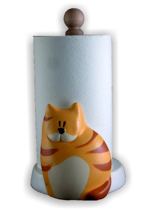 Hand-painted ceramic cat roll holder