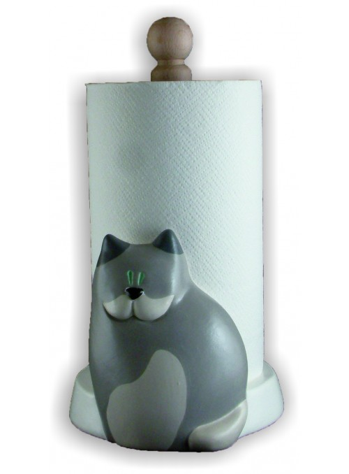 Portarotolo gatto in ceramica colorata a mano