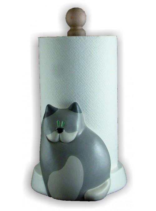 Portarotolo gatto in ceramica colorata a mano