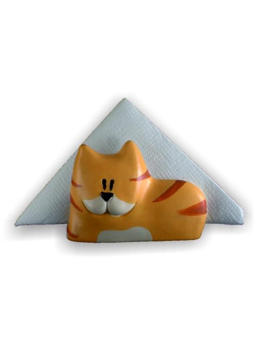 Portatovaglioli gatto in ceramica colorata a mano