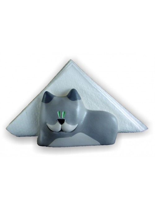 Hand-painted ceramic cat napkin holder