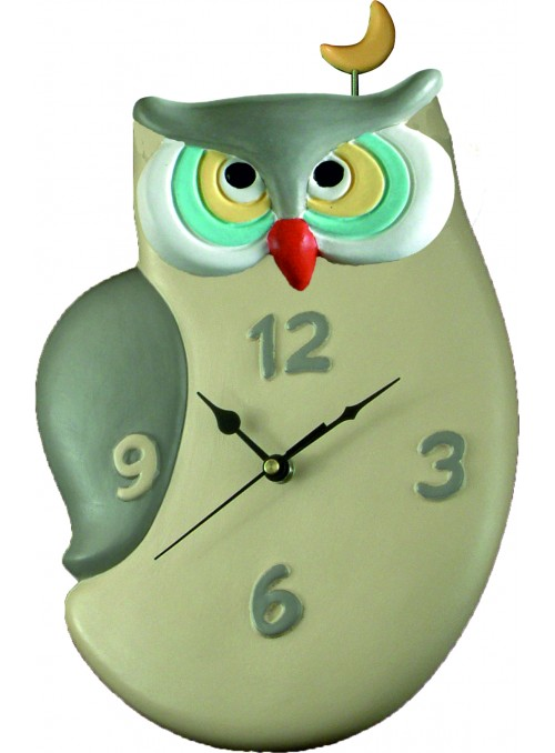 Hand-painted ceramic owl clock