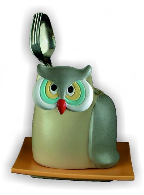Hand-painted ceramic owl cutlery drainer
